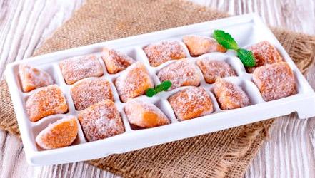 Frozen apricot wedges